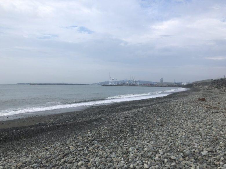興津川 河口西側