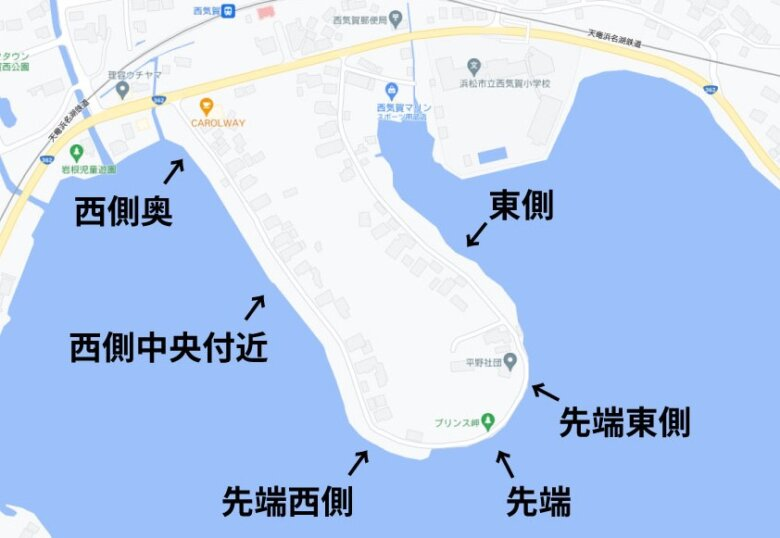 五味半島 プリンス岬 釣り ポイント 水深 地形