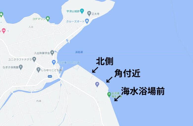 女河浦海水浴場 釣り場 水深 地形