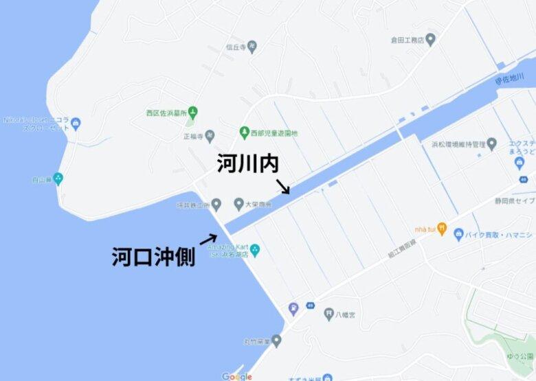伊左地川河口 水深 地形