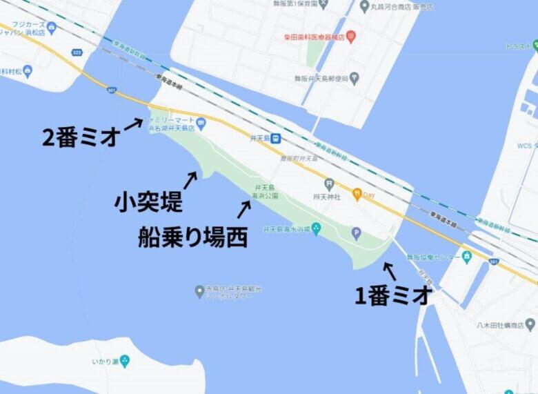 弁天島海浜公園 魚探掛けした場所